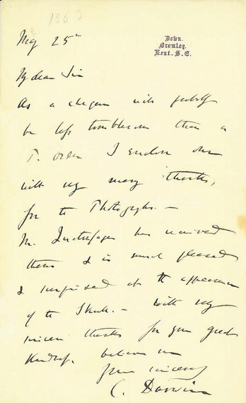 Charles Darwin Autograph letter signed