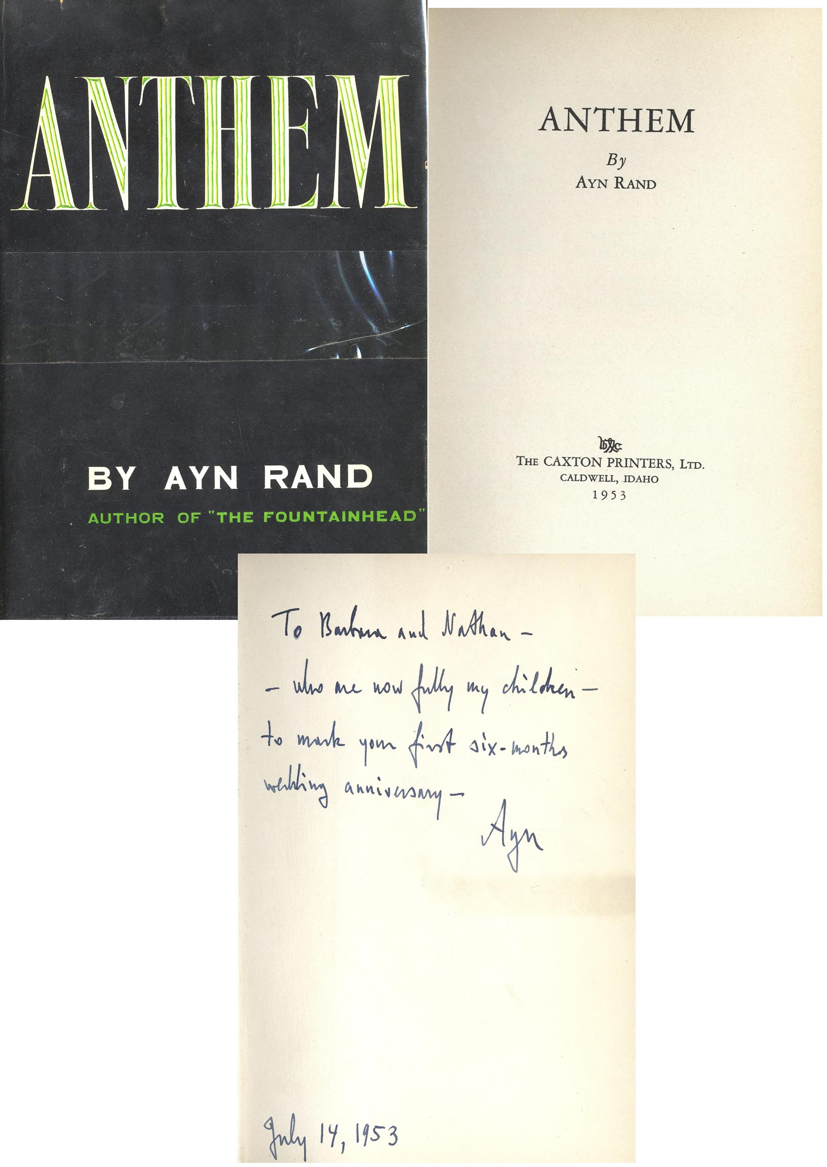 "Ayn Rand first edition Ayn Rand ""Anthem"" First Edition"