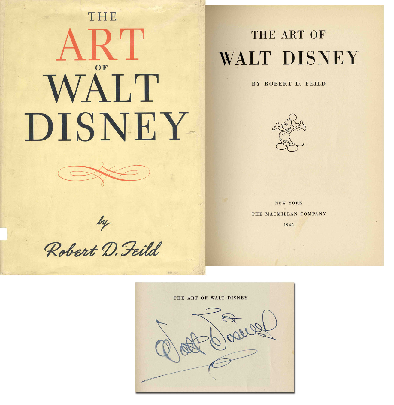 Walt Disney Autograph Art of Walt Disney 1st Ed Signed