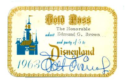 Walt Disney Autograph Walt Disney Signed Disneyland Gold Pass