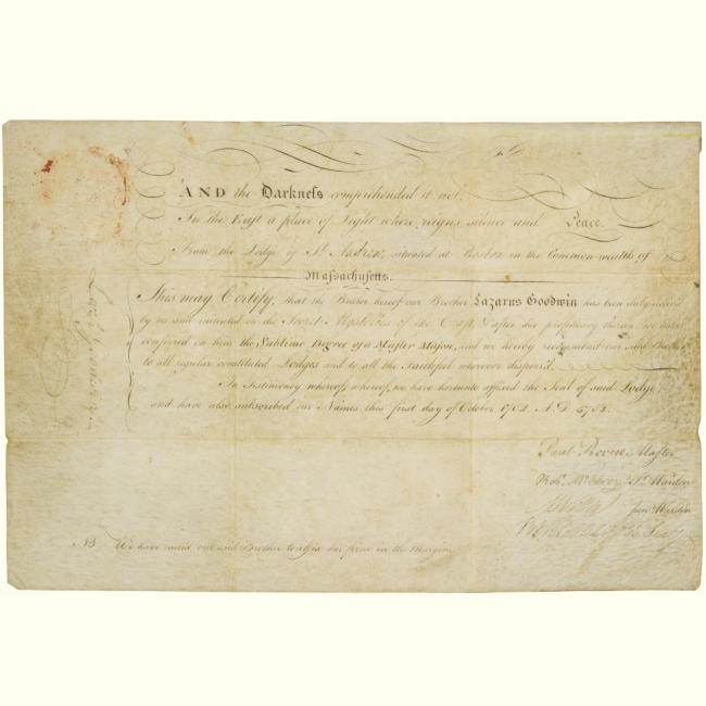 Paul Revere Autograph Paul Revere Masonic Document Signed