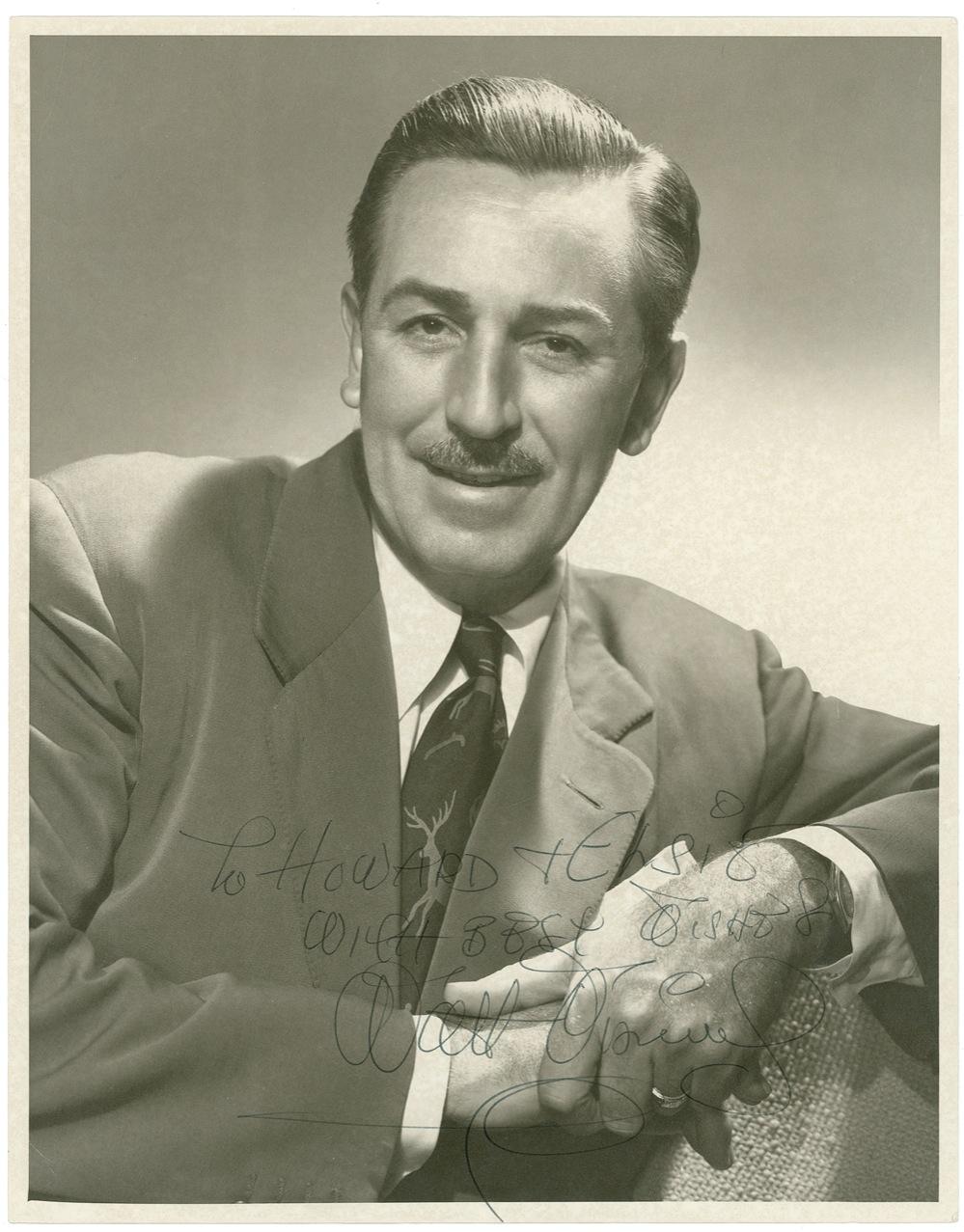 Walt Disney Autograph Walt Disney Signed & Inscribed Photo -- Rare Large Format Photo With Bold Disney Signature