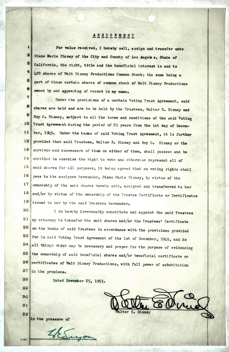 Walt Disney Autograph Walt Disney Signed Stock Transfer Document -- 1953 -- Accompanied by PSA/DNA Letter of Authenticity