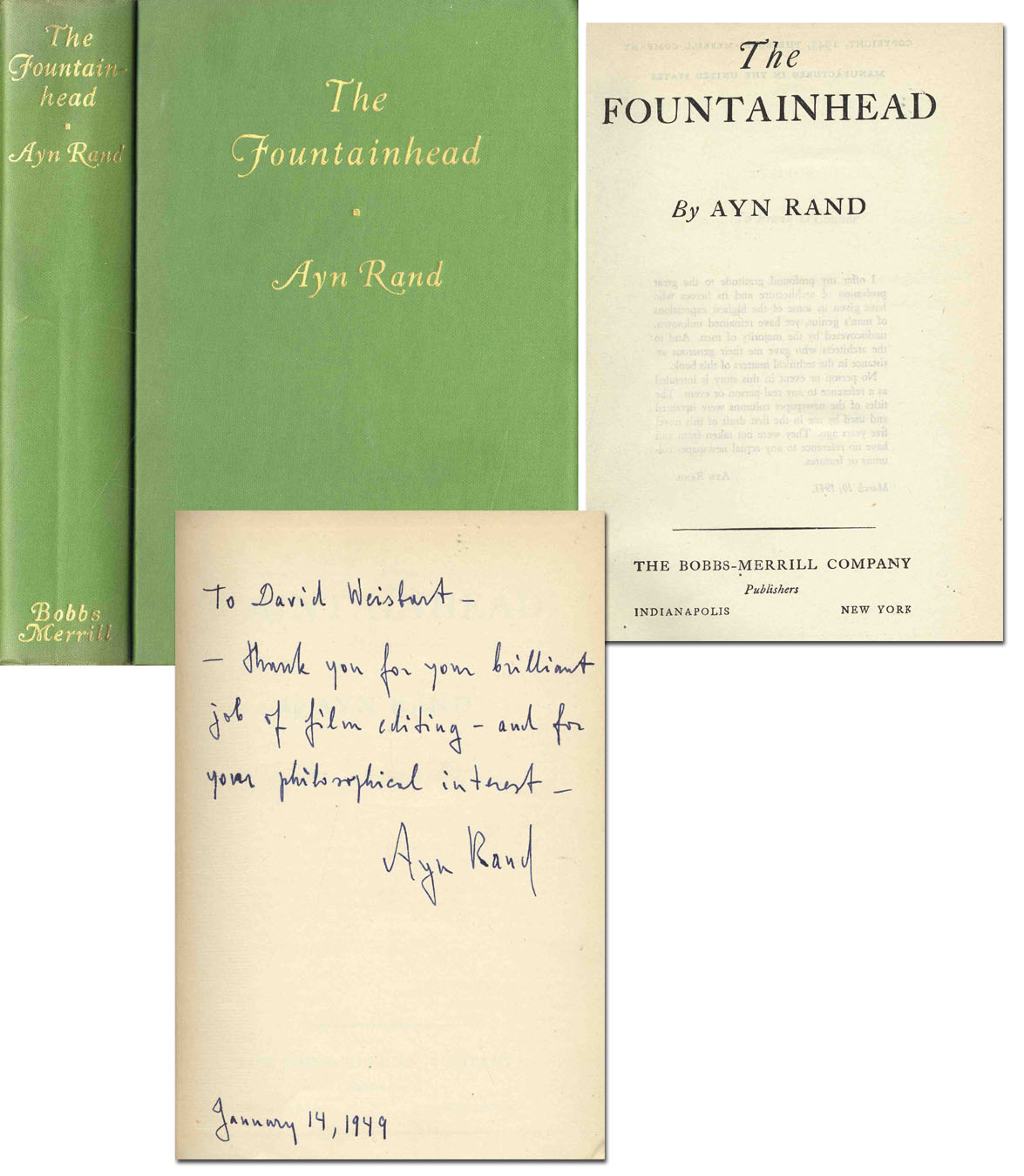 "Ayn Rand first edition Ayn Rand Signed ""Fountainhead"" 1st Edition"