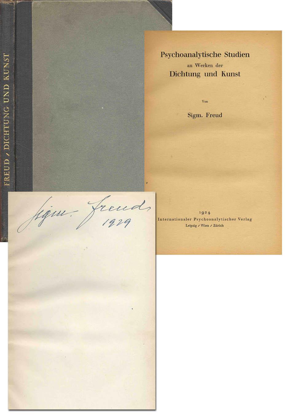 """Sigmund Freud Autograph Sigmund Freud Signed Book, """"Psychoanalytische Studien an Werken der Dichtung und Kunst"""" -- 1924"""