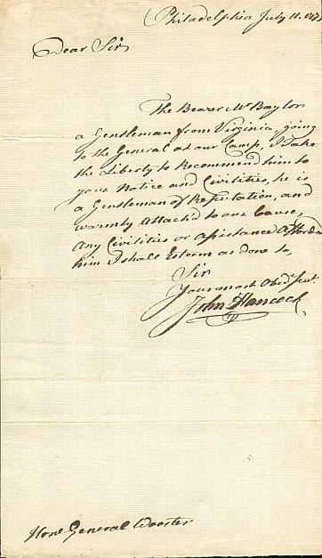 John Hancock Autograph John Hancock ALS 1775