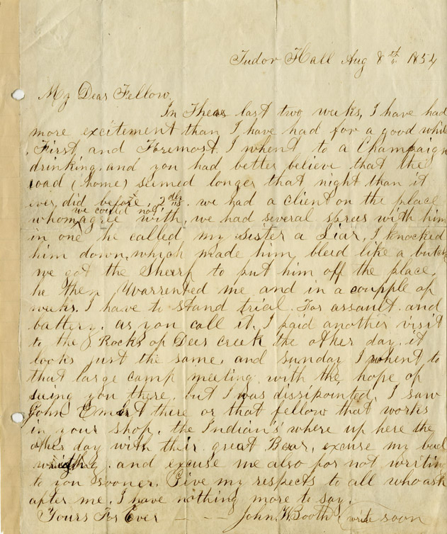 John Wilkes Booth autograph Extremely Scarce John Wilkes Booth Autograph Letter Signed Recounting an Incident for Which Booth Would be Tried for Assault & Battery