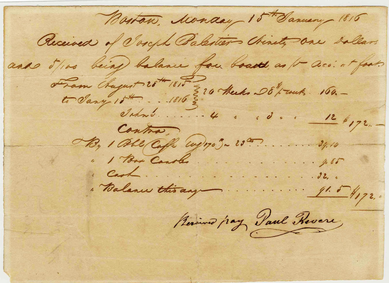 Paul Revere Autograph Incredibly Scarce Paul Revere Autographed Receipt -- From the Patriot Who Called His Countrymen to Arms -- 1816