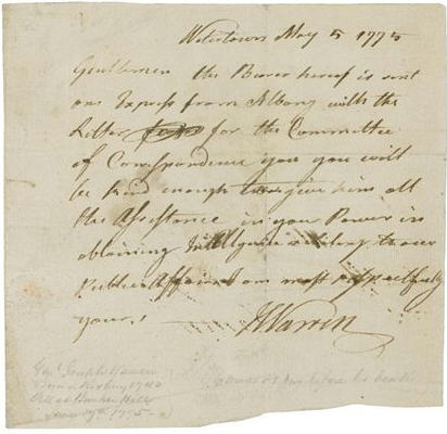 "Joseph Warren Autograph Extremely Scarce Joseph Warren Autograph Letter Signed -- Dated 5 May 1775 -- From the Revolutionary War Martyr Who Declared of America ""I will set her free or die"" -- Only One of Seven Joseph Warren ALsS Known to Exist"