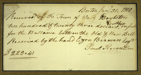 Paul Revere Autograph Rare Receipt Signed and Written in His Hand -- for a Bell Produced by Paul Revere & Son