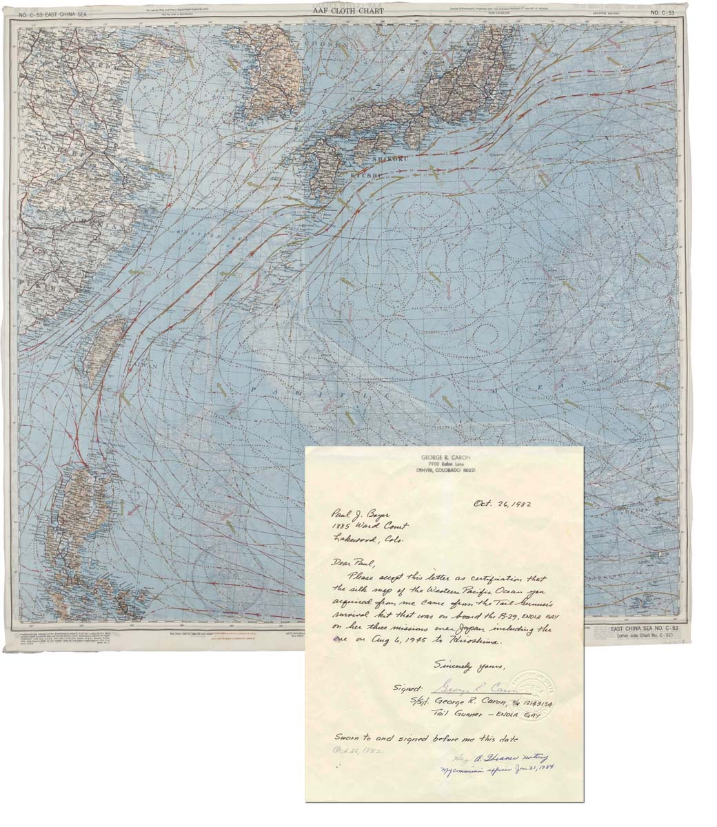 Enola Gay memorabilia Maps Enabling the Dropping of the Atomic Bomb Japan