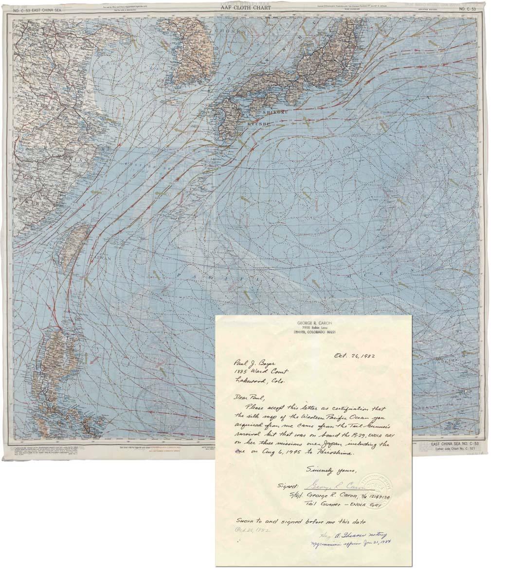 Enola Gay logbook Enola Gay memorabilia Maps Enabling the Dropping of the Atomic Bomb Japan