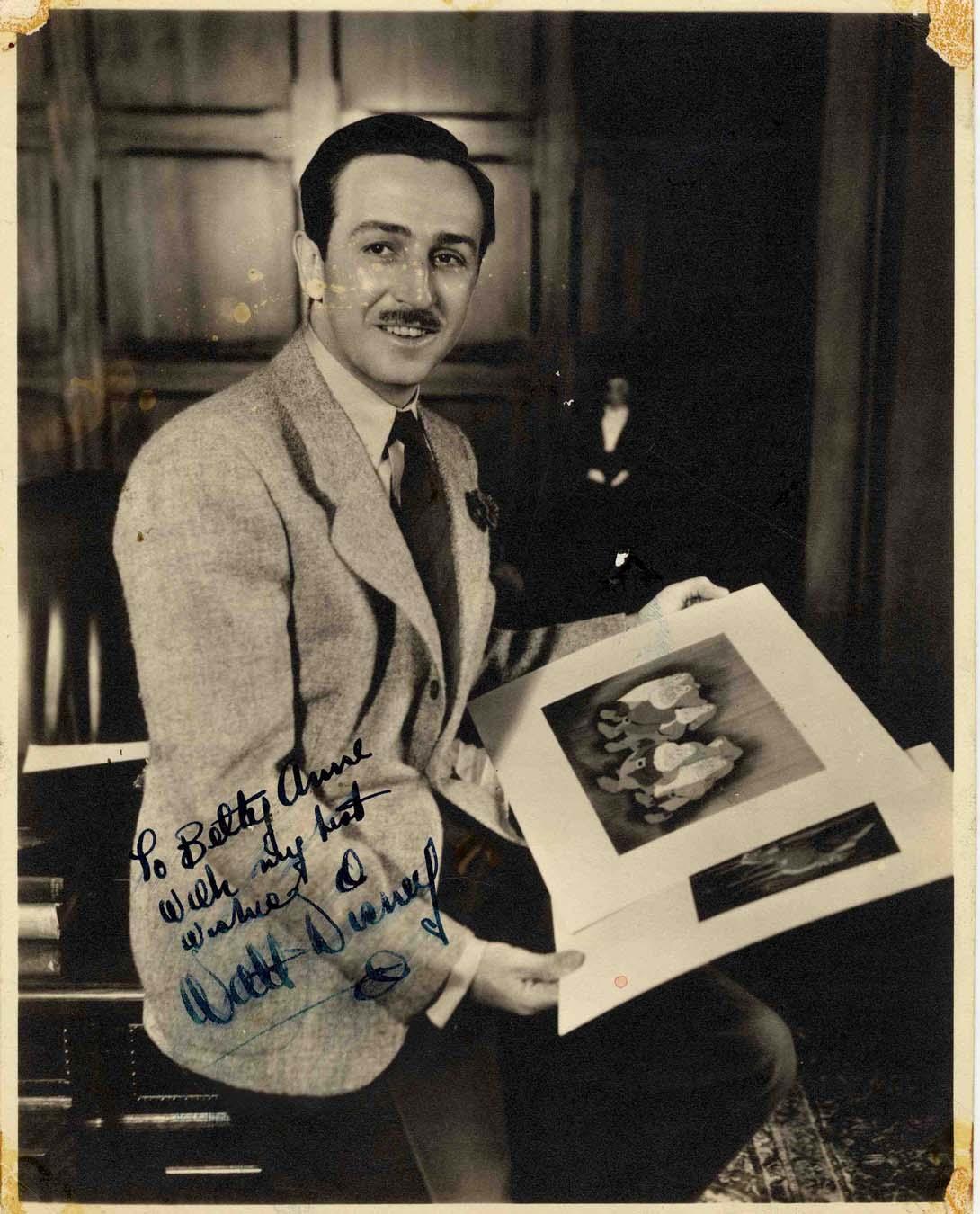 "Walt Disney Autograph Scarce Vintage Walt Disney 8"" x 10"" Matte-Finish Signed and Inscribed Photo"