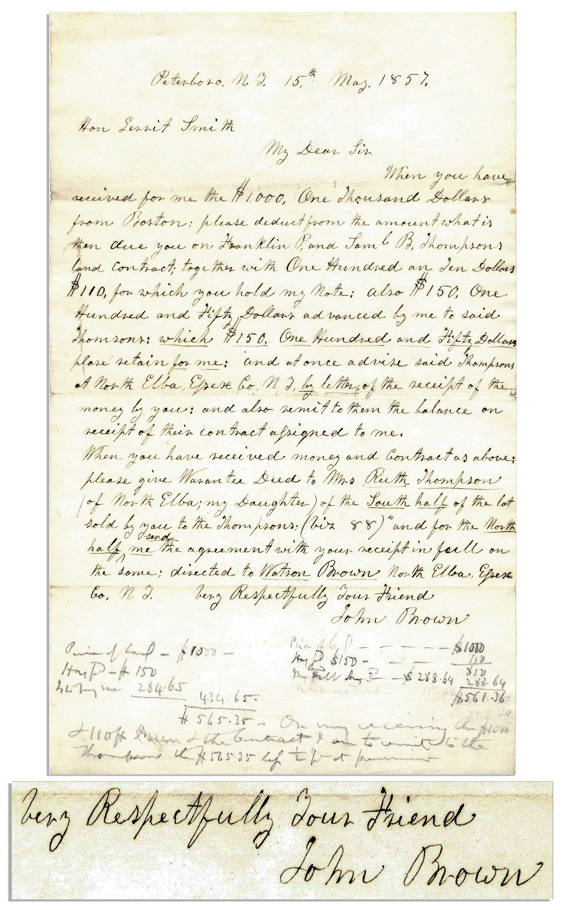 John Brown Autograph Abolitionist Letter Signed to Gerrit Smith, Brown's Financier for the Raid at Harper's Ferry -- Brown Talks Money With Smith in 1857 -- One of Few Letters Proving Financial Connection Between Brown & Smith