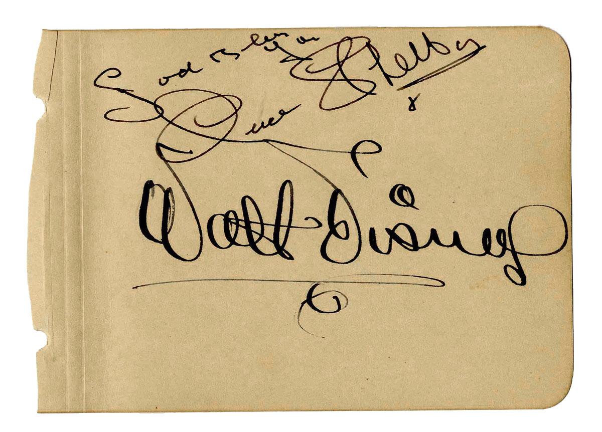 Walt Disney Autograph Very Large and Bold Walt Disney Signature