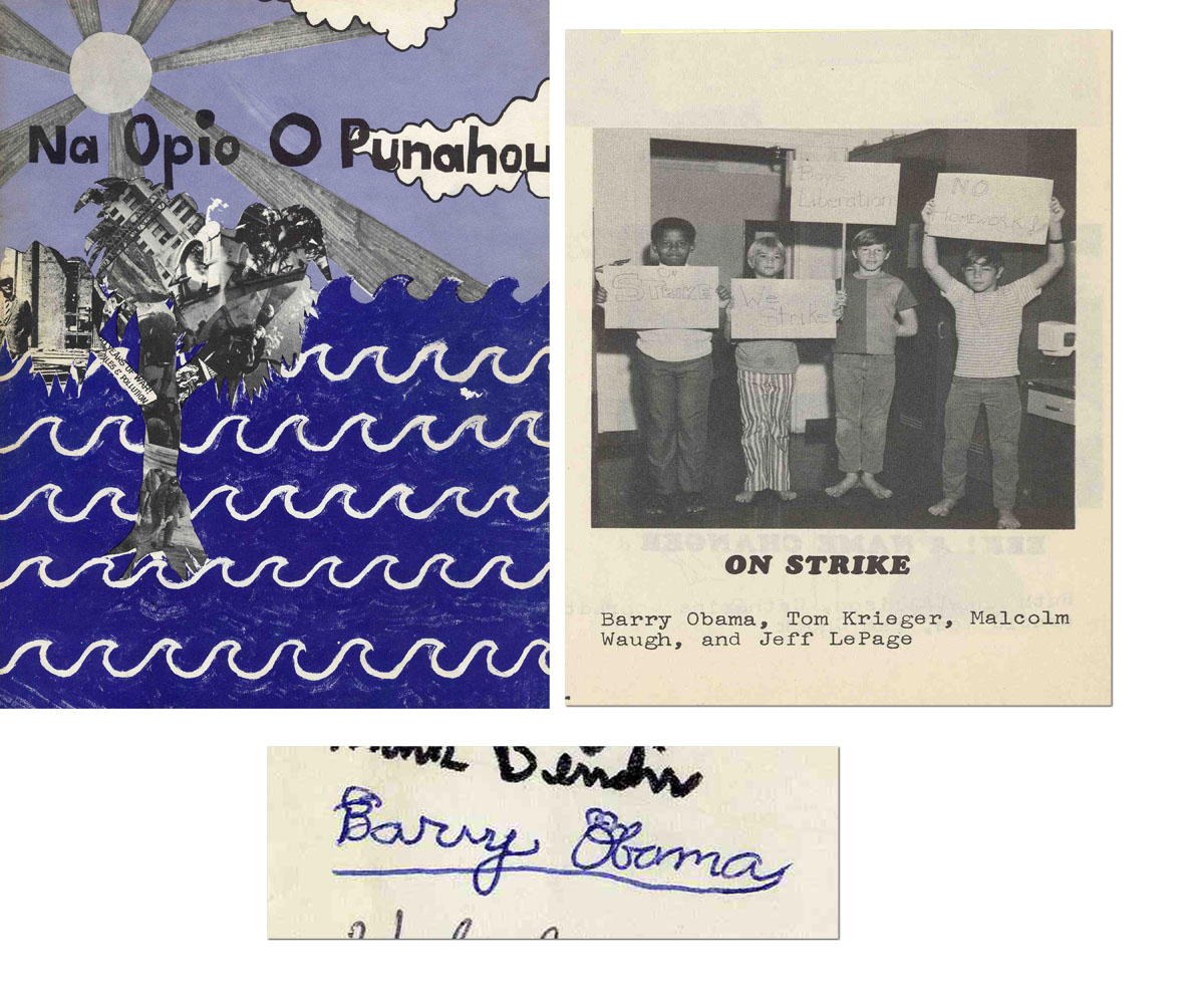"""Barack Obama autograph Barack Obama's Fifth Grade Punahou School in Hawaii Yearbook from 1971-2 -- Signed """"Barry Obama"""" -- Perhaps His Earliest Known Autograph"""