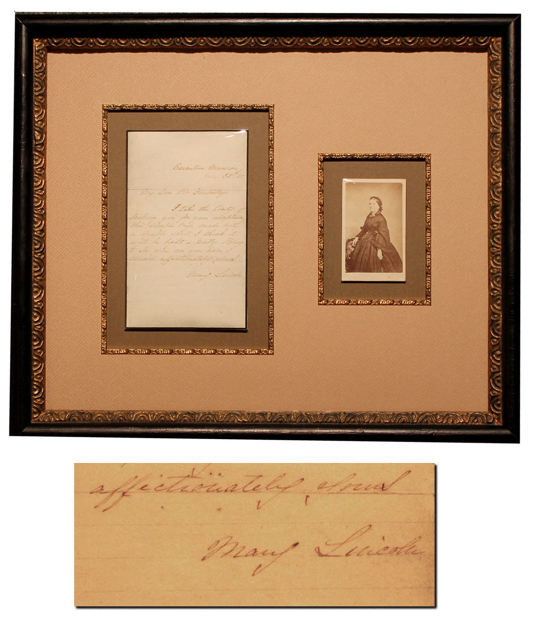 "Mary Lincoln Autograph Letter Signed as First Lady -- Mrs. Lincoln Gives a Going Away Present (Something ""light and pretty"") to Her Friend Mrs. Abner Doubleday"