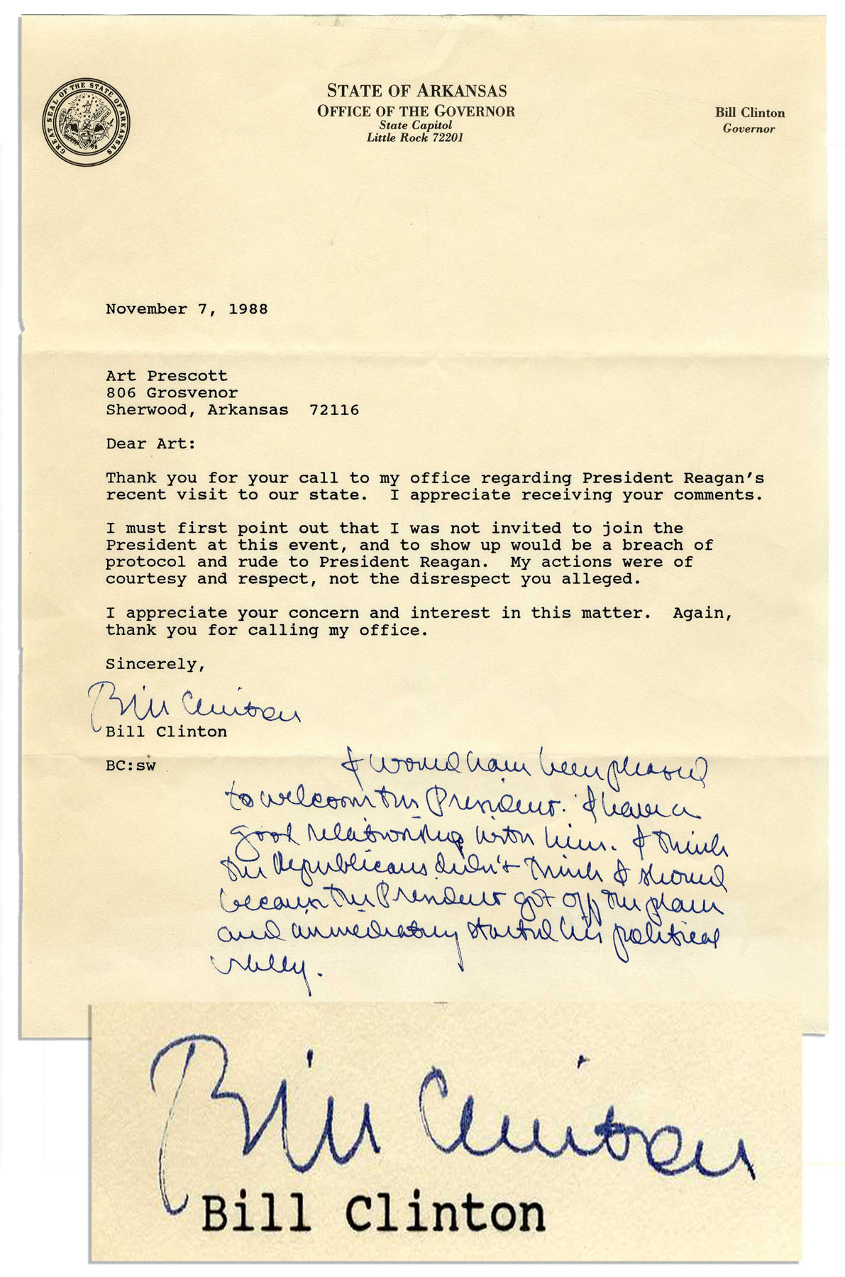 "Bill Clinton Memorabilia Bill Clinton Autograph Note Signed Regarding Ronald Reagan -- ""…I have a good relationship with him…"""