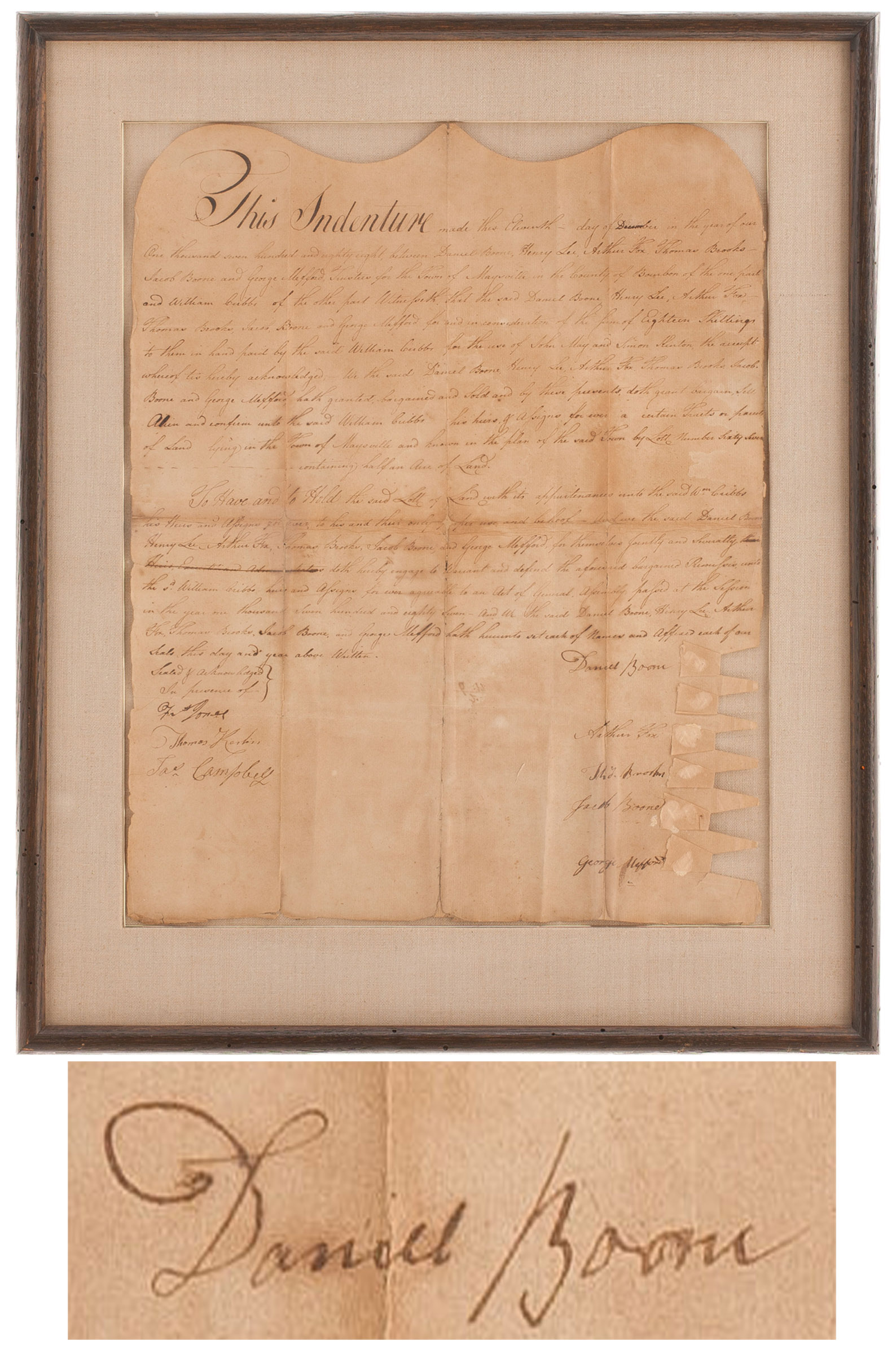 Daniel Boone Autograph Very Scarce 1788 Daniel Boone Autograph Document Signed -- Boone Signs a Kentucky Land Indenture During His Time as a Surveyor and Land Prospector