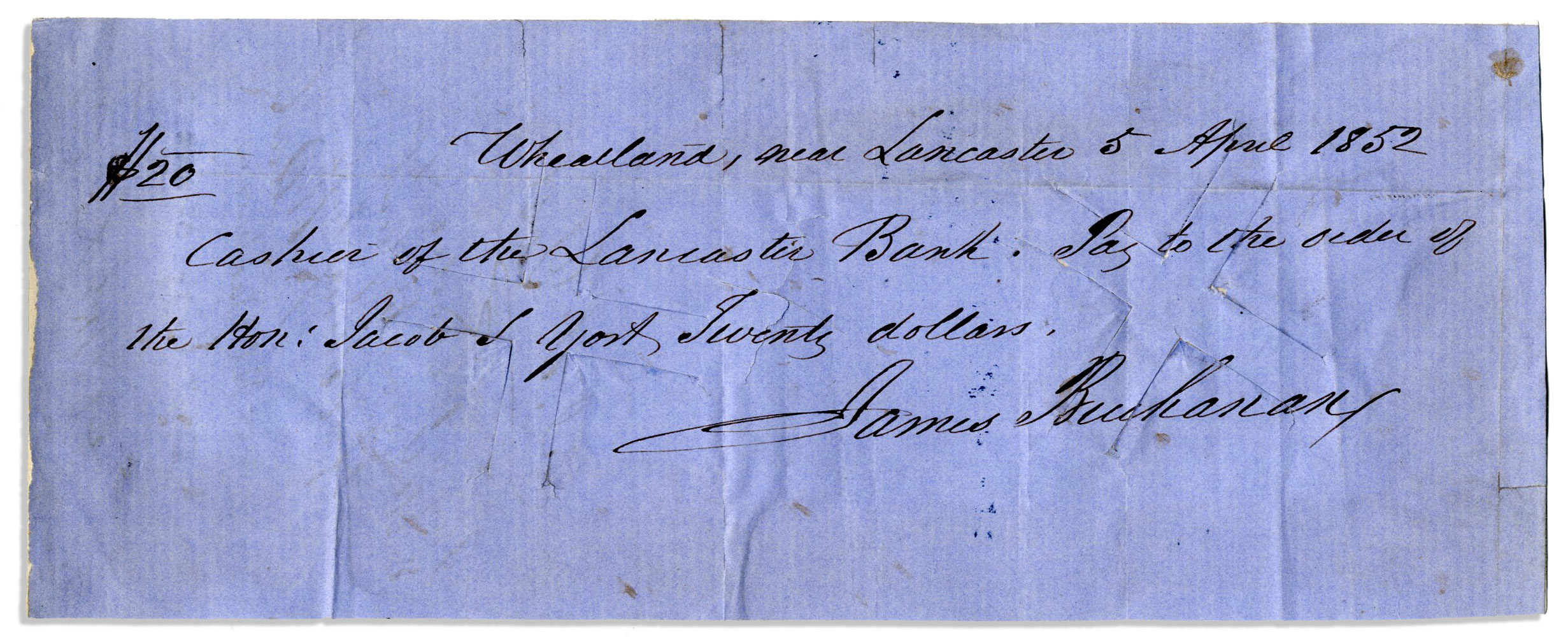 President Signed Checks James Buchanan 1852 Manuscript Check Signed