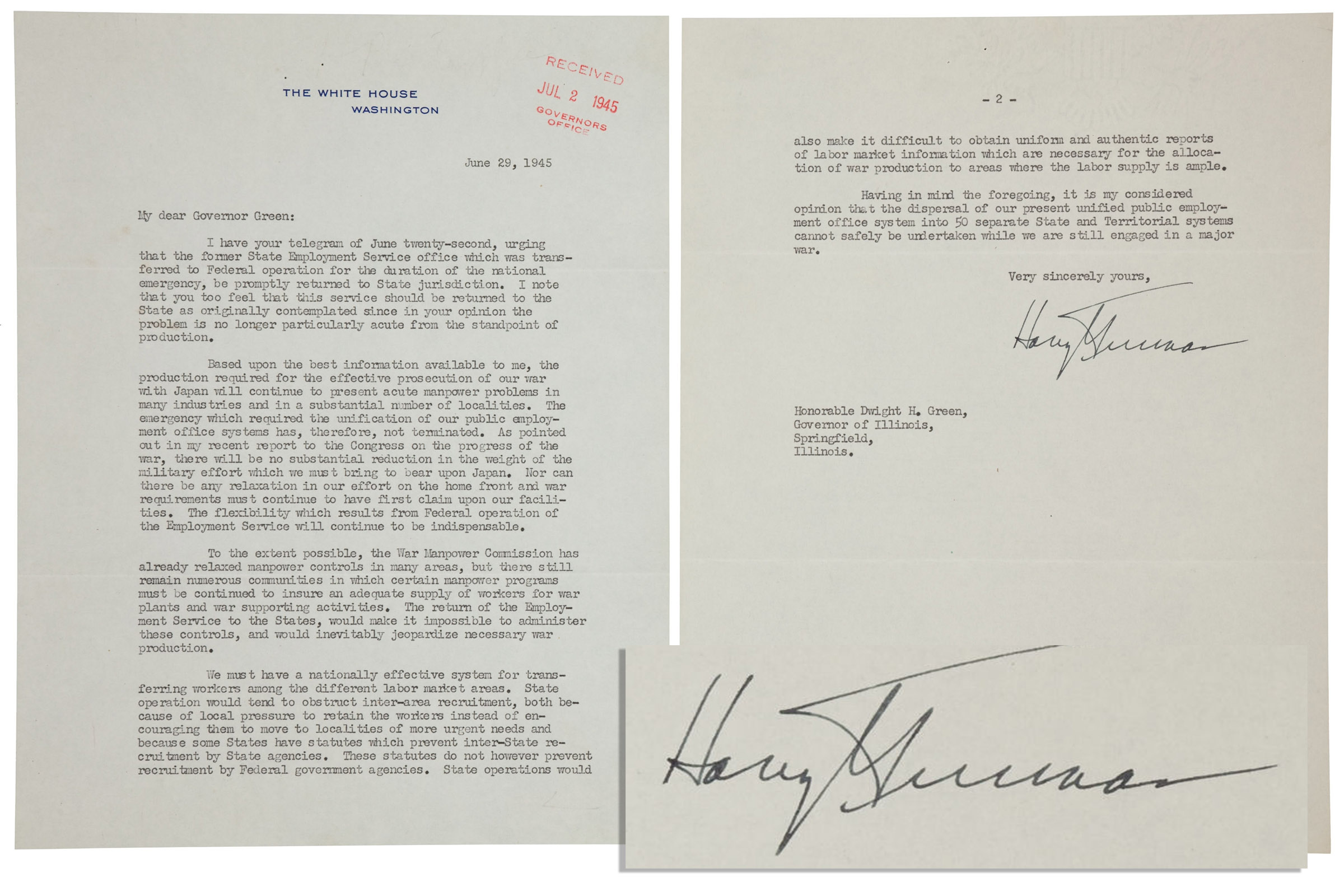 "Harry Truman Memorabilia Exceptional Harry Truman 1945 Typed Letter Signed as President Regarding WWII Strategy -- ""…there will be no substantial reduction in the weight of the military effort which we must bring to bear upon Japan…"""