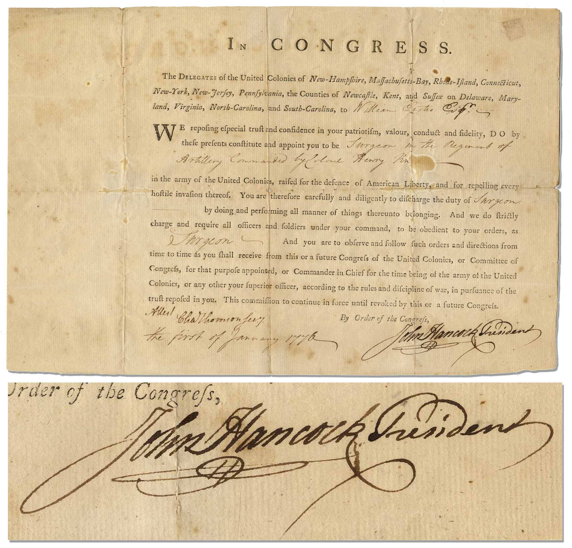 "John Hancock Autograph Terrific John Hancock 1776 Revolutionary War Document Signed as President of the Second Continental Congress -- Appointing Future Secretary of War, William Eustis, as ""Surgeon"" in the Continental Army"