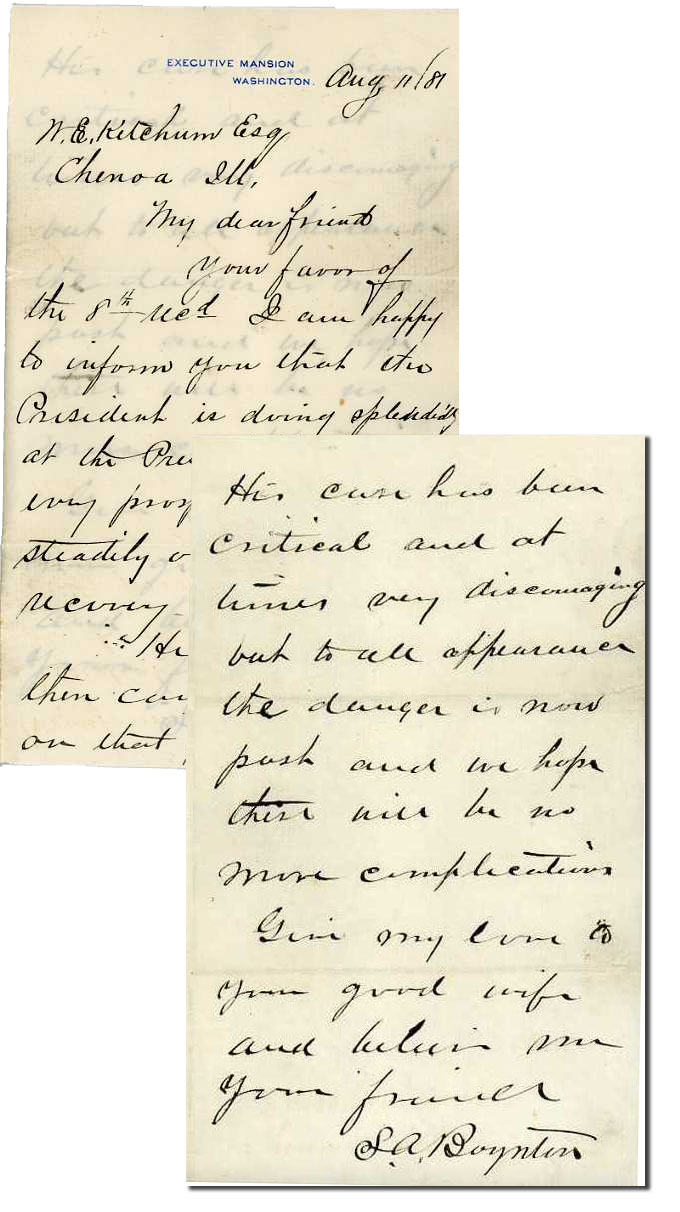 "James Garfield autograph Letter From President Garfield's Physician on Executive Mansion Stationery After the President Was Shot -- ""…He will get well, there can be no doubt on that point…"" -- Garfield Died a Month Later"