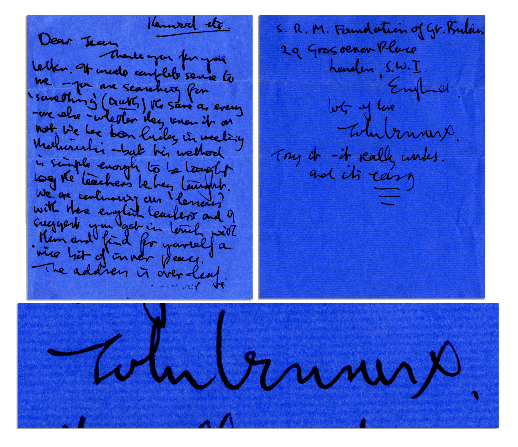 "Beatles memorabilia Intimate Handwritten Letter by John Lennon on Transcendental Meditation -- ""…you are searching for 'something' (truth) the same as every one else - whether they know it or not. We have been lucky in meeting Maharishi…"" -- With PSA/DNA COA"