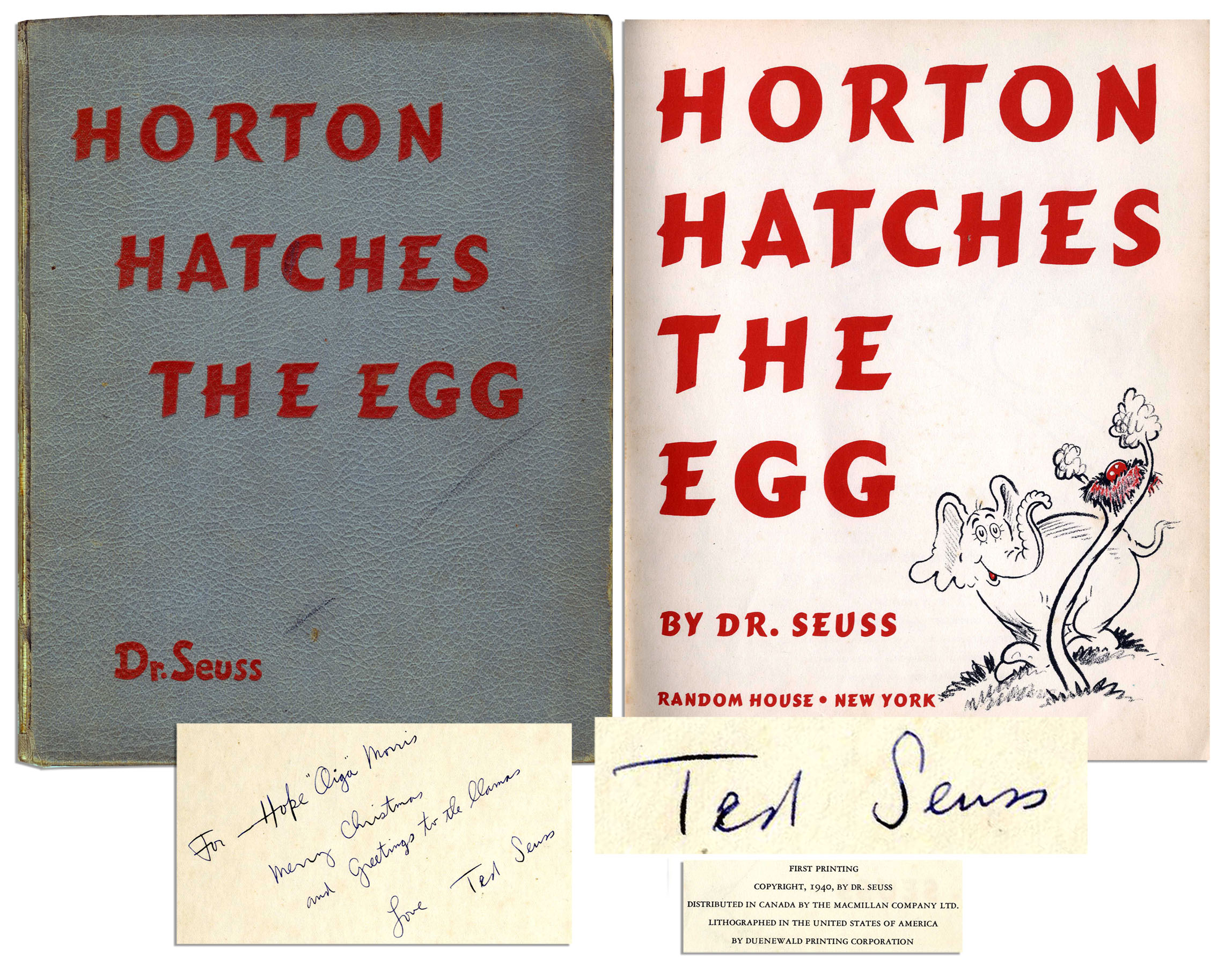 "Dr. Seuss Autograph First Edition, First Printing of ""Horton Hatches The Egg"" Signed by Dr. Seuss -- He Signs ""Ted Seuss"""