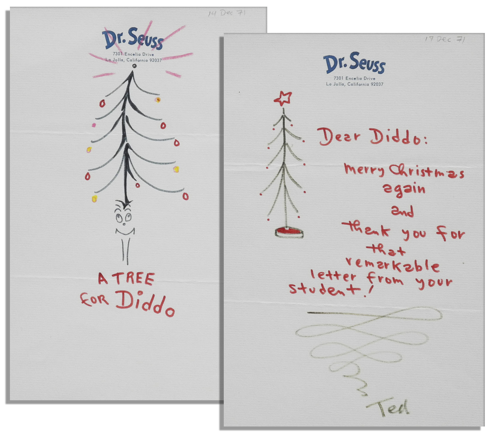 "Dr. Seuss Autograph Rare Original Dr. Seuss ""Grinch"" Drawings Signed -- Festive Christmas Greetings"
