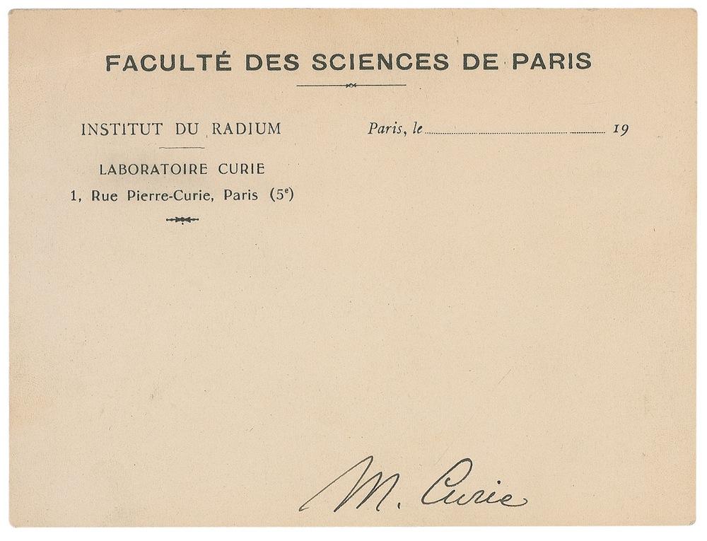 Marie Curie Autograph