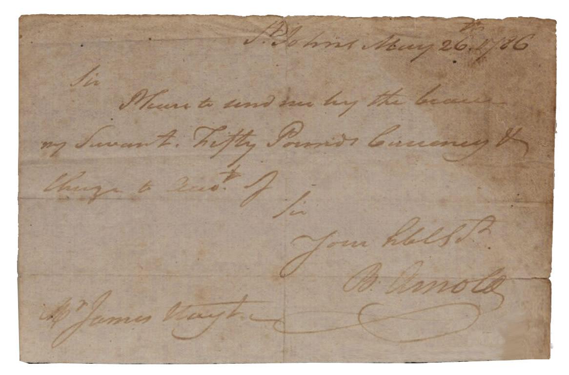 Benedict Arnold Autograph Benedict Arnold Autograph Note Signed -- 1786