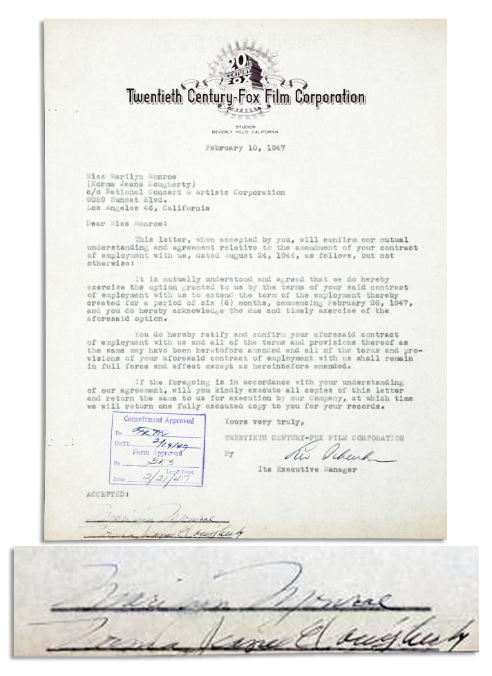 "Marilyn Monroe Autograph One of the First Documents that Marilyn Signs ""Marilyn Monroe"" as She Just Changed Her Name -- This Hollywood February 1947 Contract is Signed Both ""Marilyn Monroe"" and ""Norma Jeane Dougherty"""