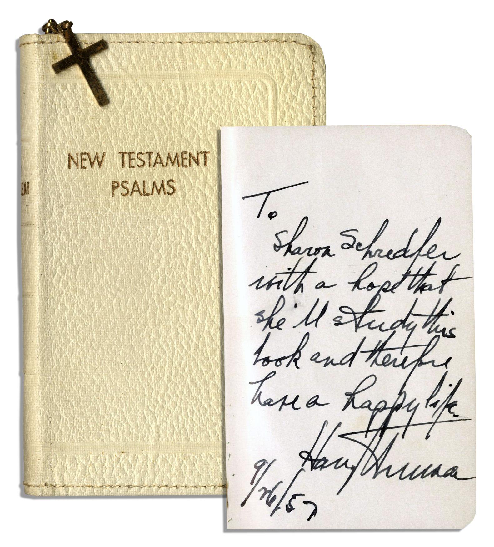 Harry Truman Memorabilia Harry Truman Autograph Note Signed in Bible Book of Psalms -- 1957