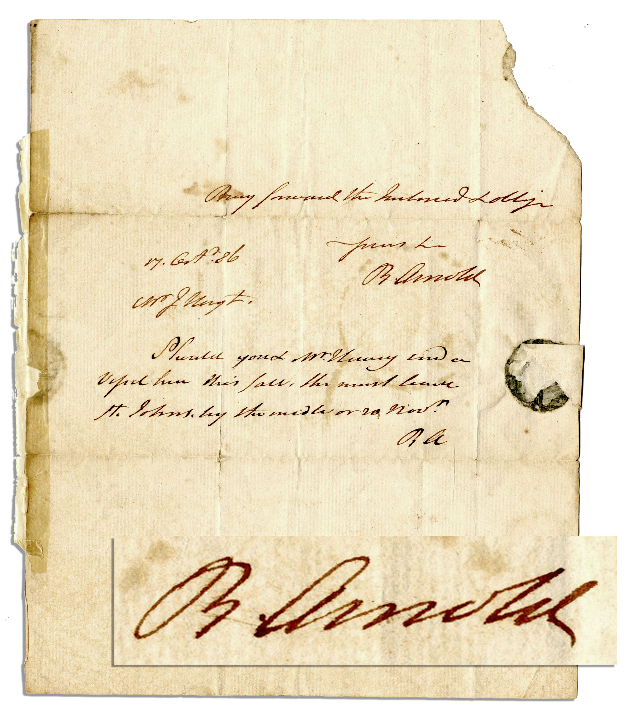Benedict Arnold Autograph Benedict Arnold Autograph Letter Signed -- 1786