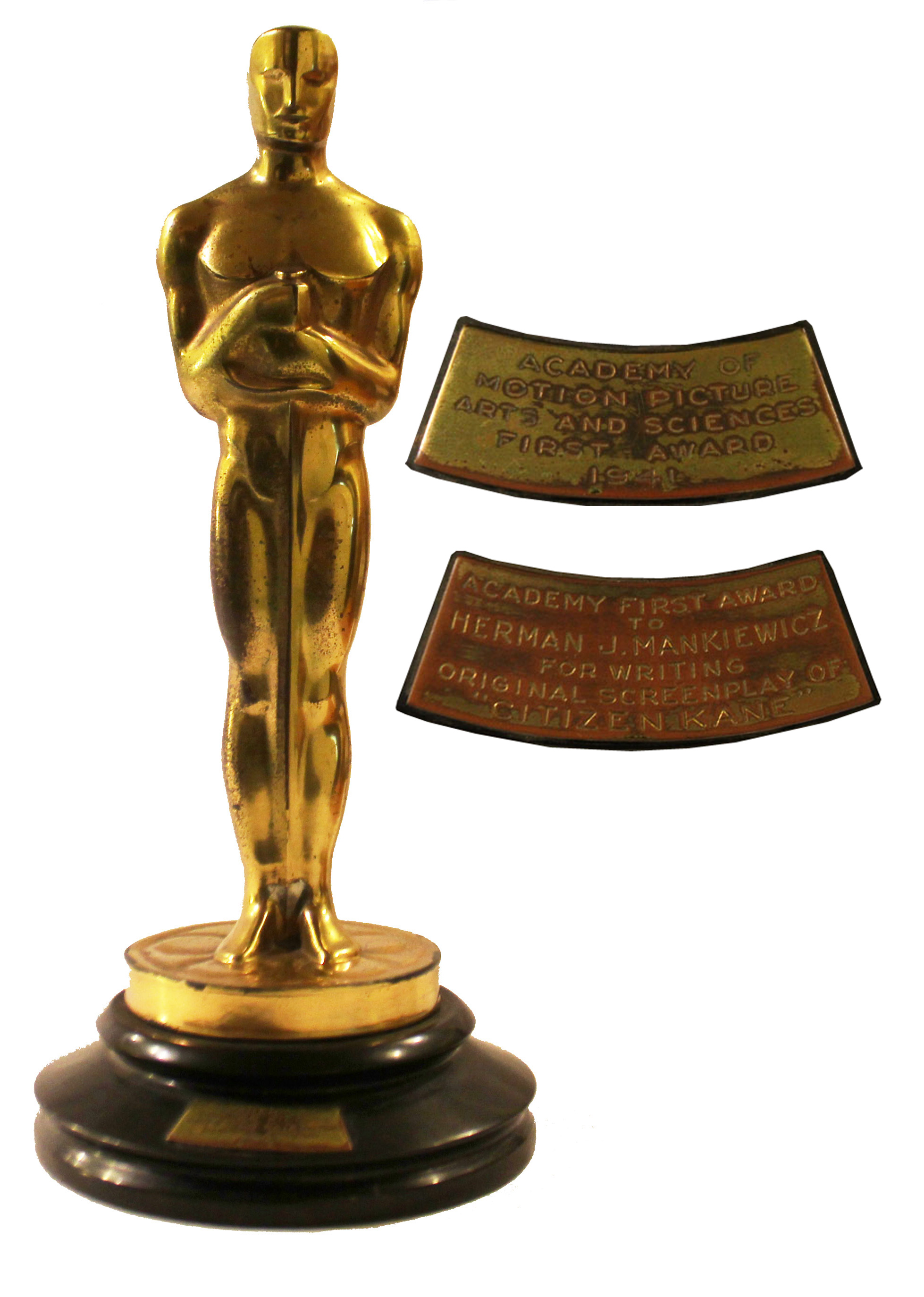 "Orson Welles Memorabilia Original Oscar Awarded to Herman Mankiewicz for Writing ""Citizen Kane"" -- The Only Academy Award Won by ""Citizen Kane,"" Voted the Greatest American Film of All-Time"