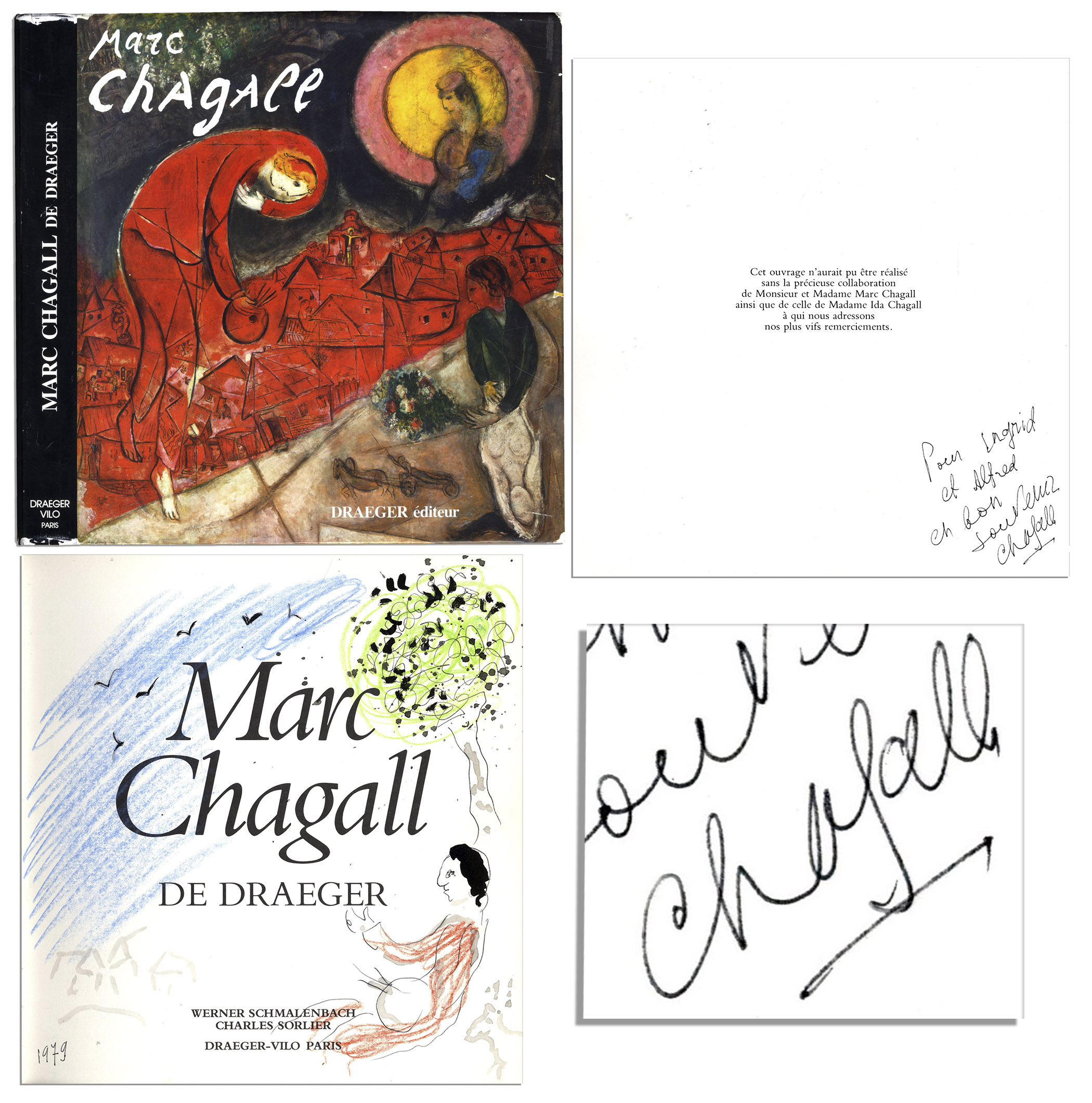 "Marc Chagall Signed Book Beautiful, Original Artwork by Marc Chagall in His Book, ""Peintre Sous un Arbre"" Signed"