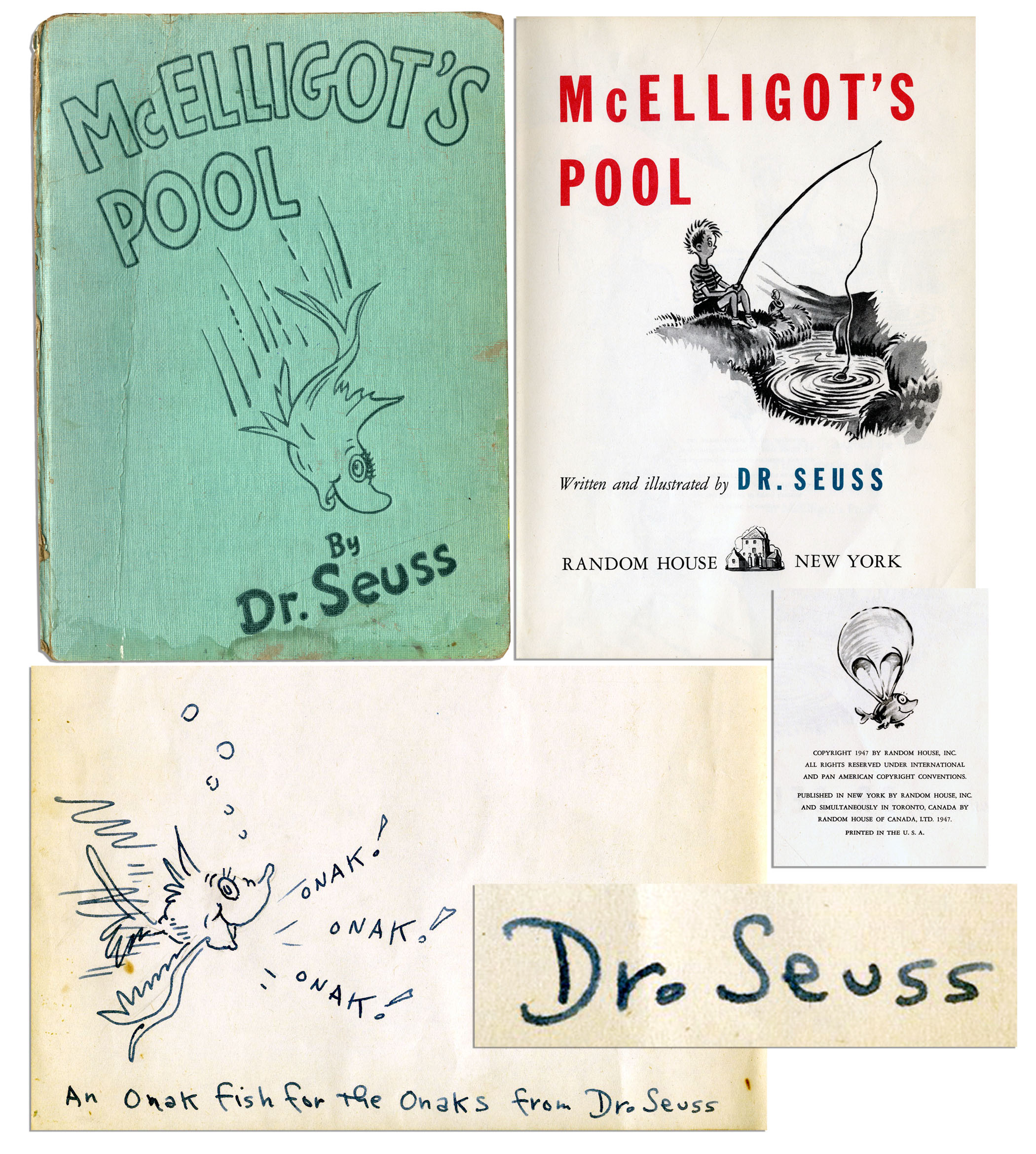 "Dr. Seuss Autograph Dr. Seuss ""McElligot's Pool"" First Edition -- With Signature & Hand-Drawn Sketch by Seuss"