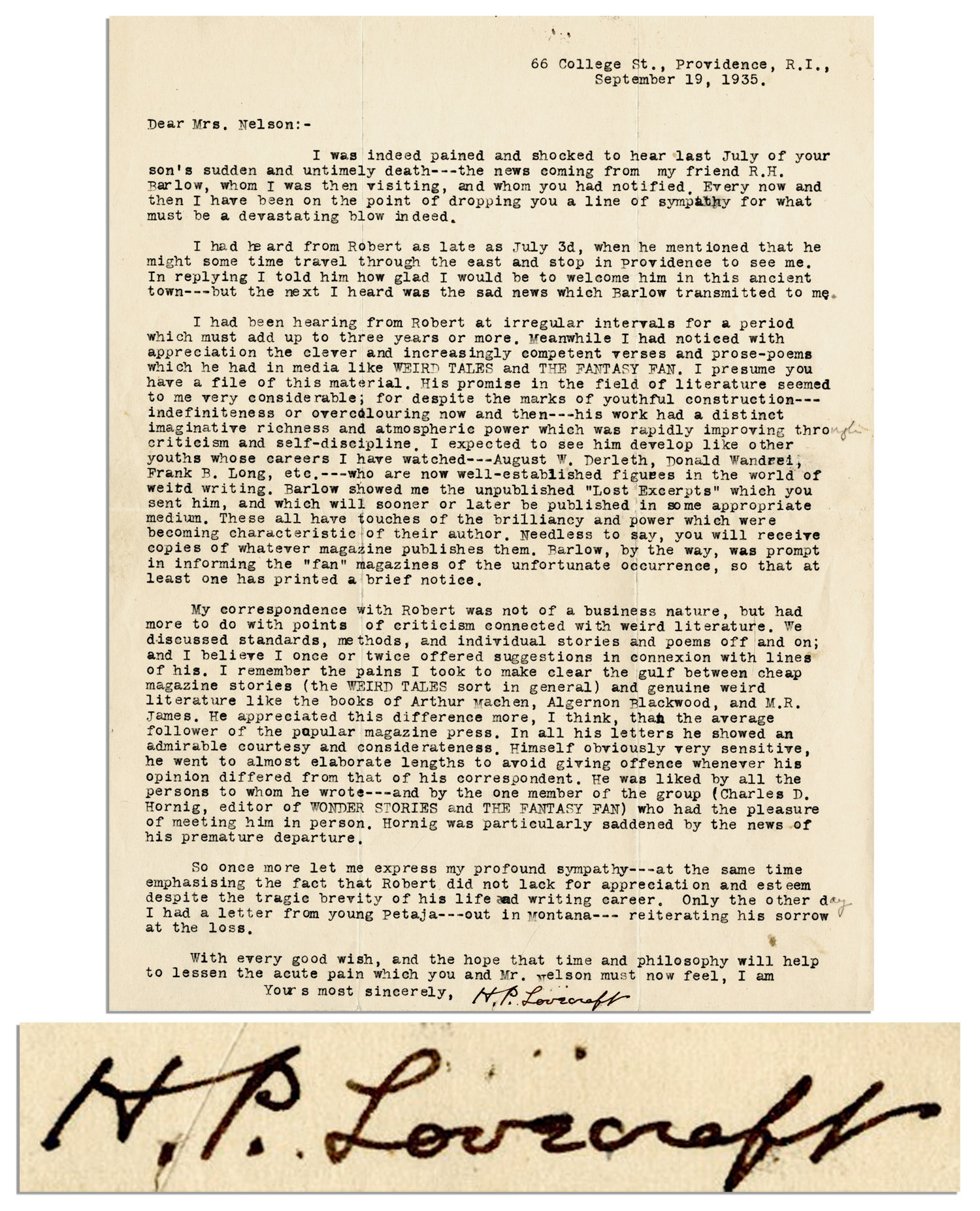 HP Lovecraft First Edition H.P. Lovecraft Letter Signed on the Death of a Young Writer