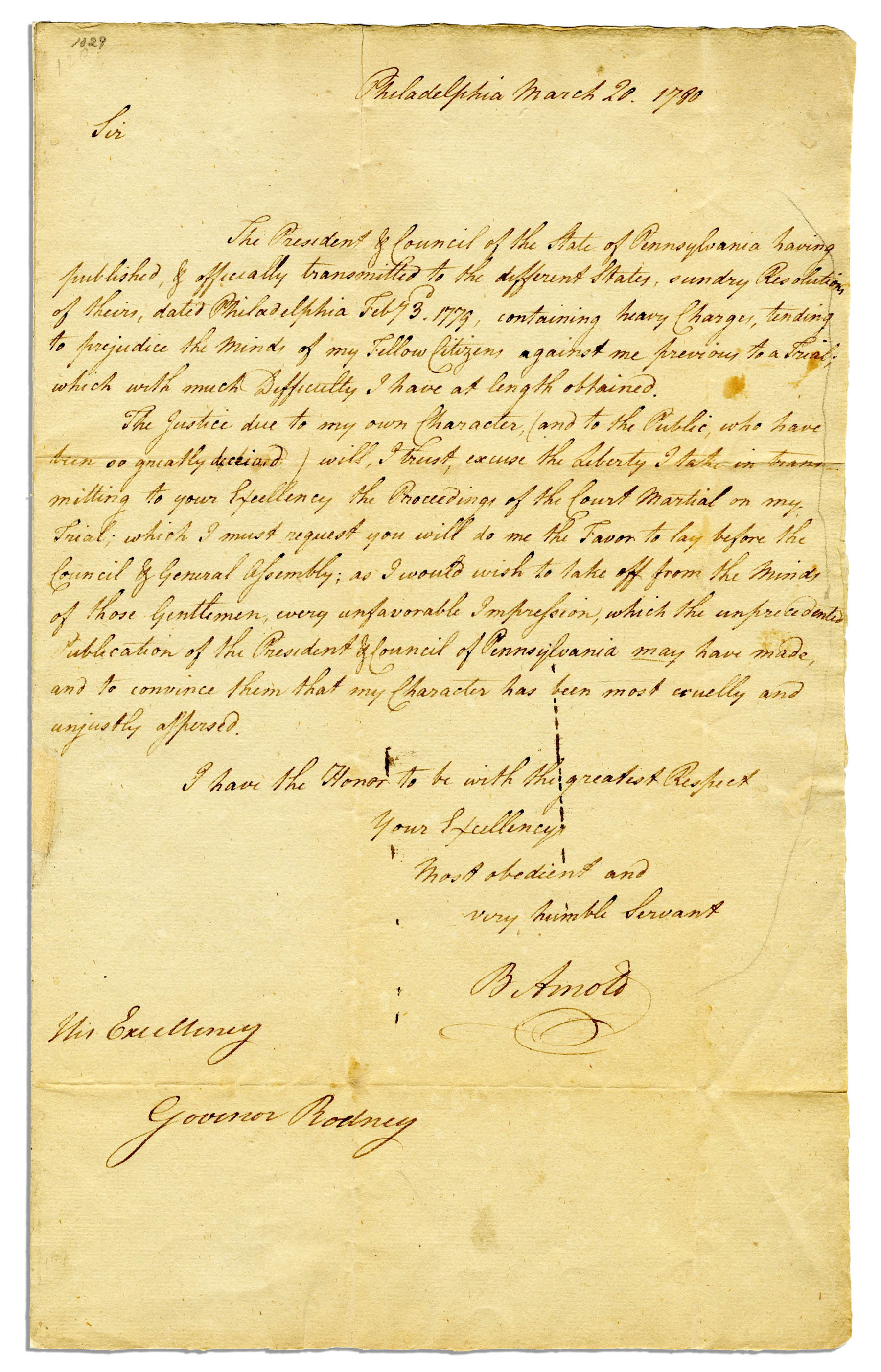 "Benedict Arnold Autograph Benedict Arnold in 1780 Accused of War Profiteering, Abuse of His Powers and Then Spying for the British Unbelievably Writes: ""…My character has been most cruelly and unjustly aspersed…"""