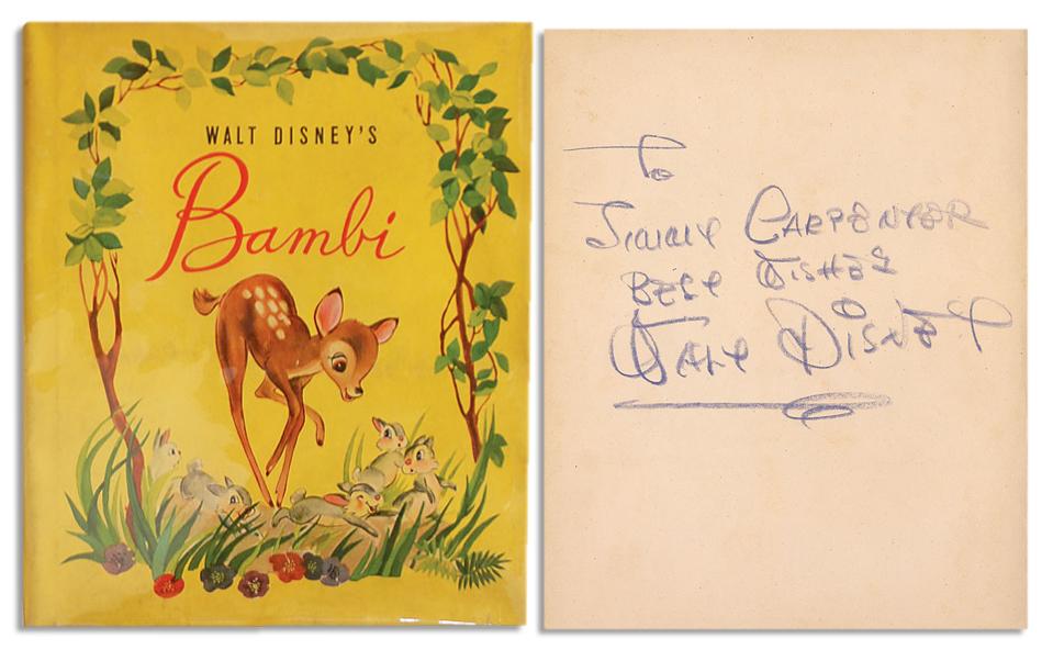 "Walt Disney Autograph Walt Disney Signed 1942 Copy of ""Bambi"" -- With PSA/DNA COA"