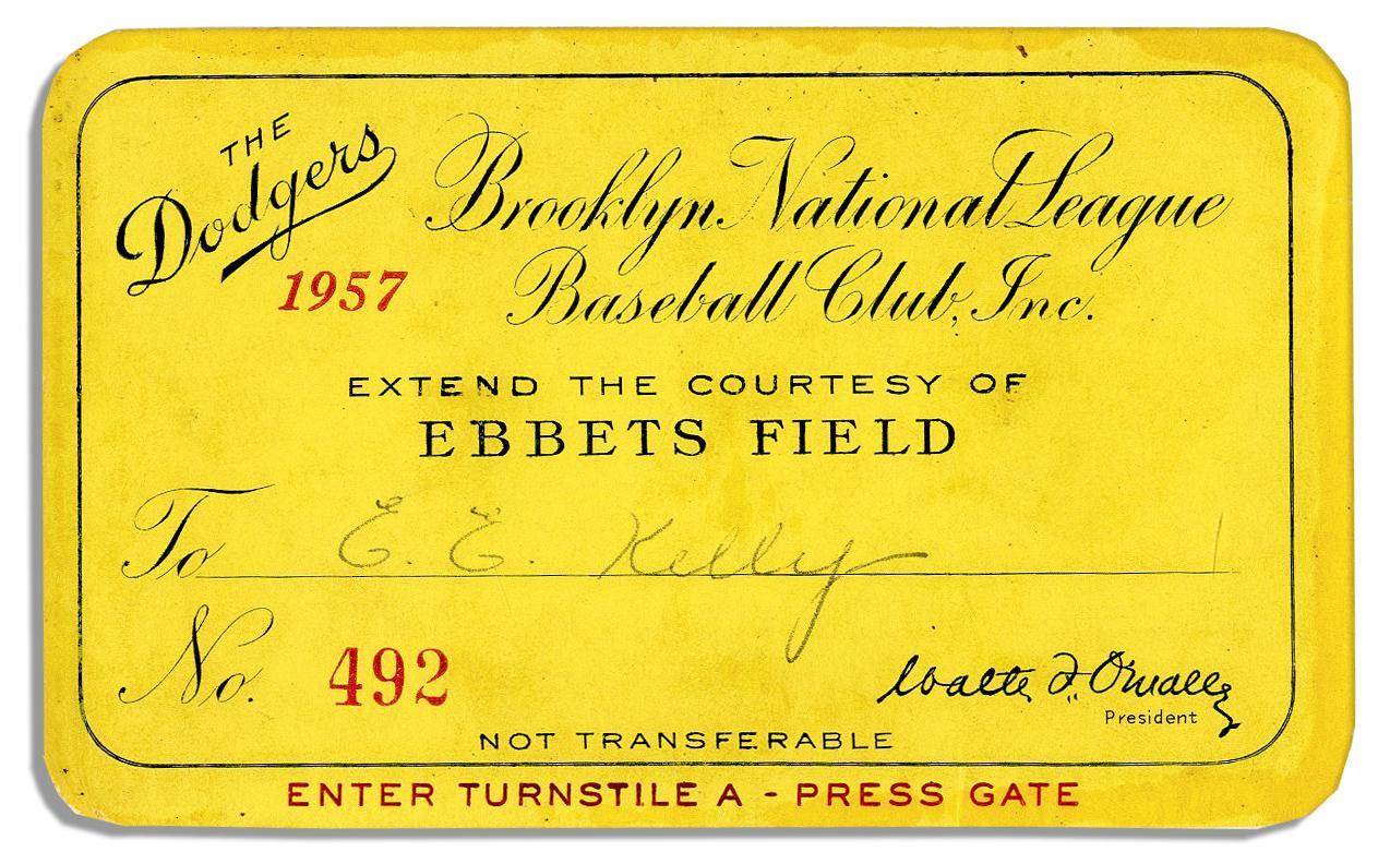 Brooklyn Dodgers press pass