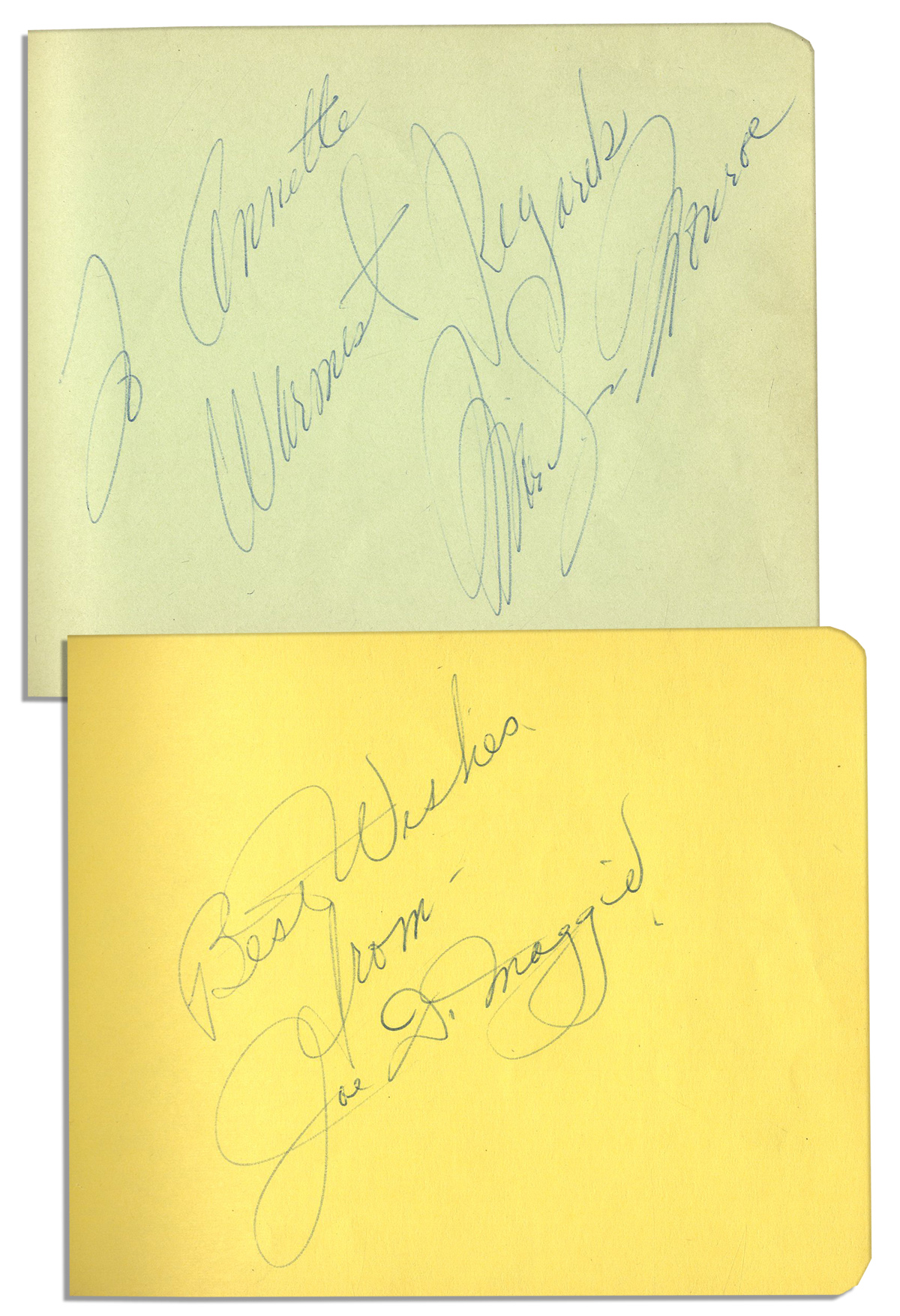 "Marilyn Monroe Autograph Beautiful Example of Marilyn Monroe's Signature in an Autograph Album -- ""To Annette / Warmest Regards / Marilyn Monroe"" -- Album Also Has Joe DiMaggio's Signature Together With Marilyn's"