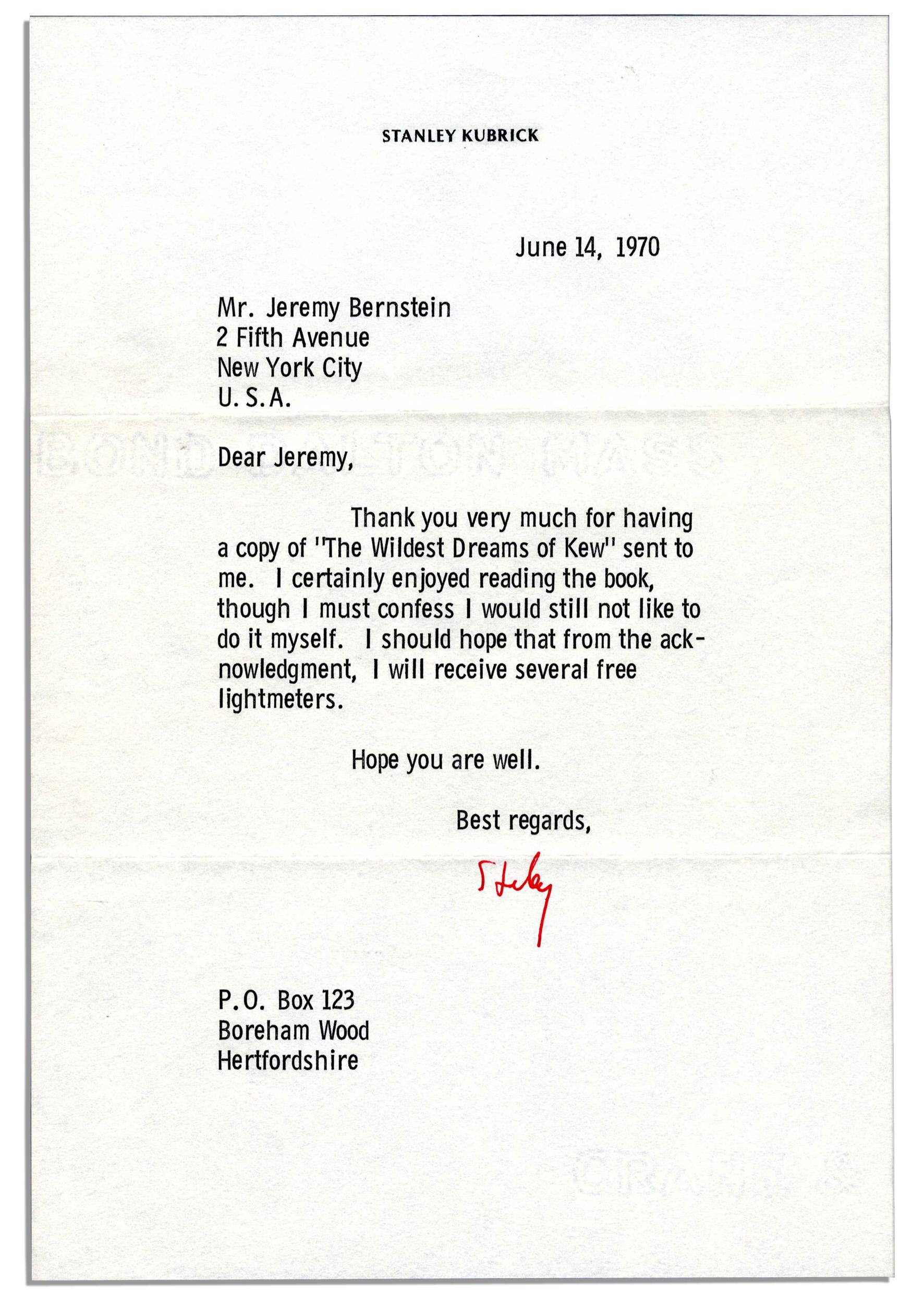 Stanley Kubrick autograph