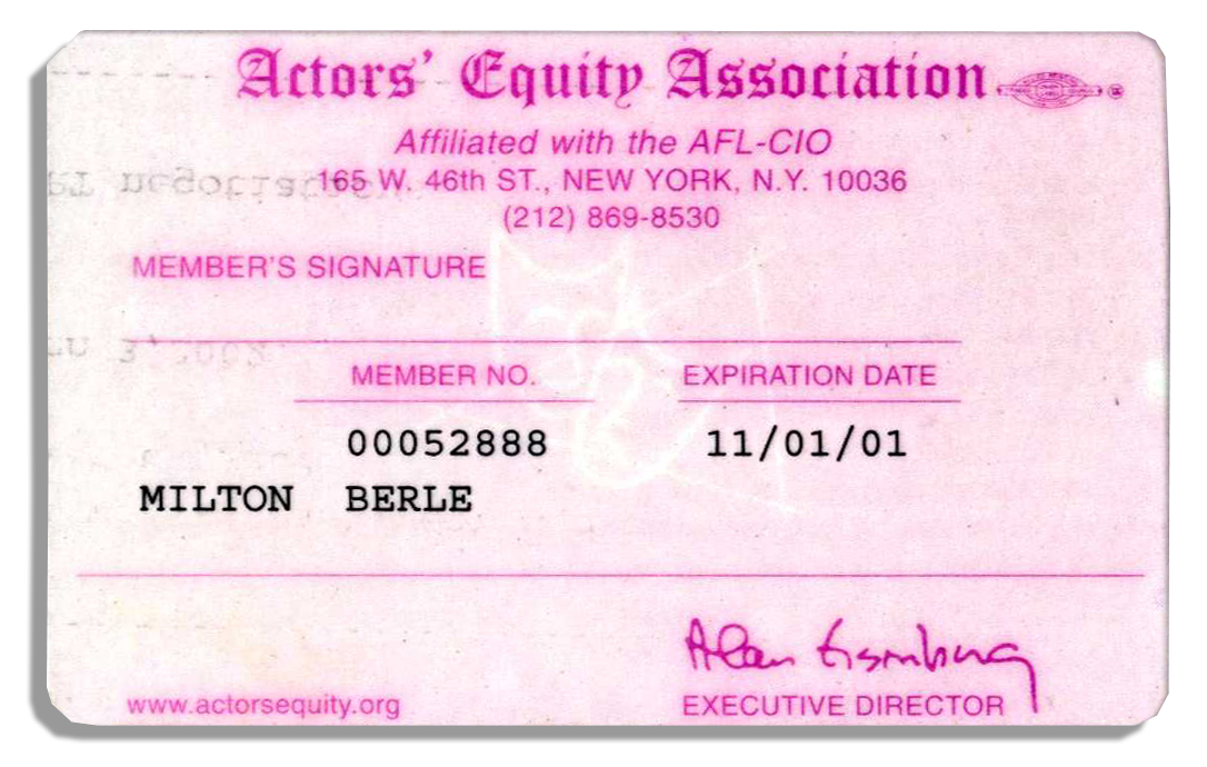 Milton Berle Actors' Equity Association Membership Card | Ebay