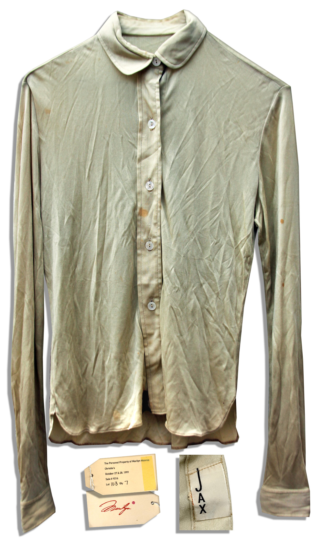 Marilyn Monroe dress auction Marilyn Monroe's Personally Owned Blouse With Provenance From Christie's