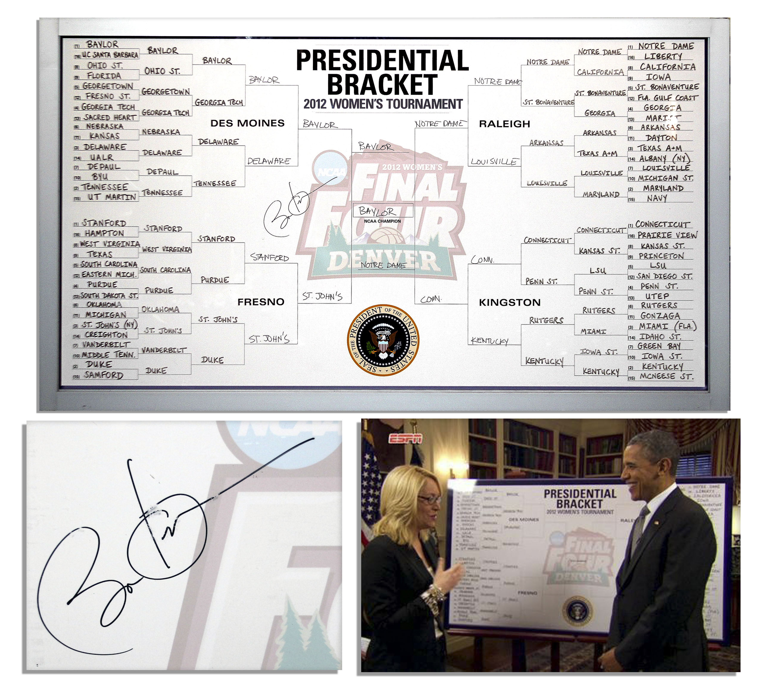 Barack Obama autograph Barack Obama Signed as President Leaderboard for the 2012 NCAA Women's Basketball Championship -- With Obama's Team Picks Handwritten by Him