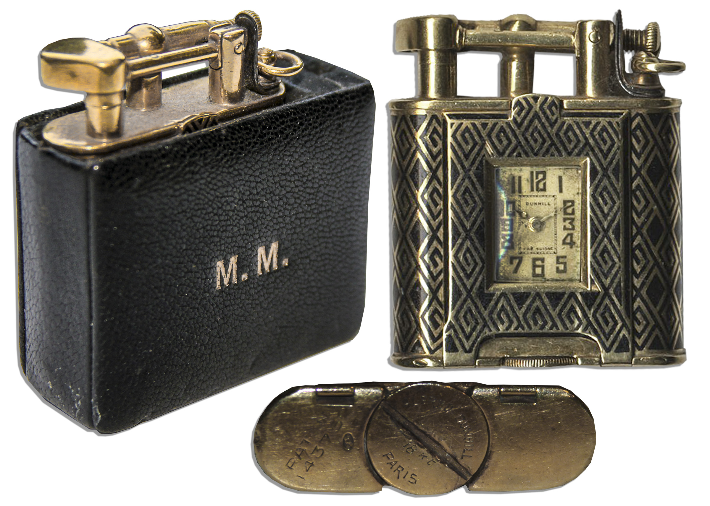 Marilyn Monroe dress auction Marilyn Monroe Personally Owned 18k Gold Dunhill Lighter & Timepiece -- In Black Leather Case With Her Monogram
