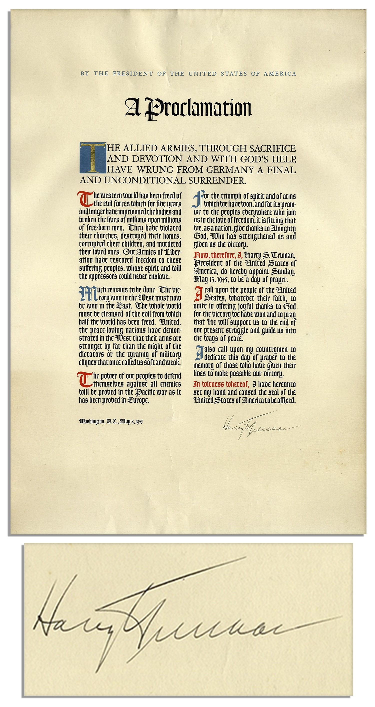 Harry Truman Memorabilia Exceptionally Scarce Harry Truman WWII Victory Proclamation Signed as President -- Gifted to White House Staff in 1945 -- in Seldom-Encountered Near Fine Condition