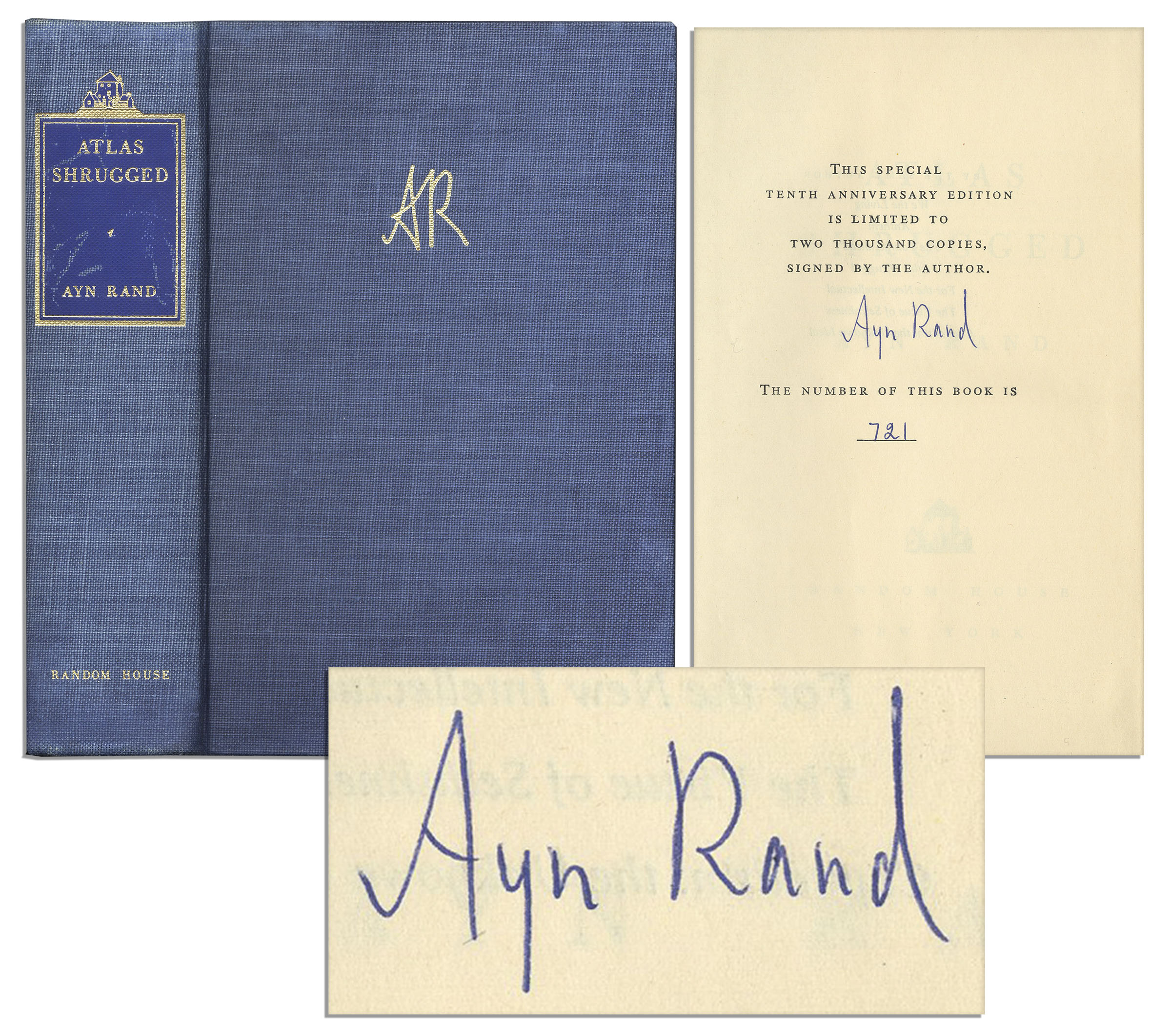 Ayn Rand first edition Ayn Rand Atlas Shrugged Signed